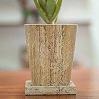 Marble flower pot, 'Earth Contempo' - Modern Flower Pot of Brown Marble with Vertical Veins