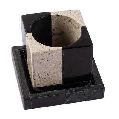 Small marble planter, 'Attractive Opposites' - Square Travertine and Black Marble Planter with Saucer