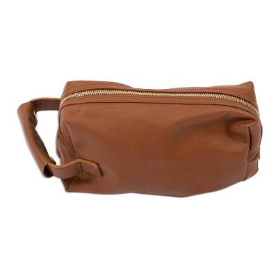 Classic Saddle Brown leather Toiletry Case