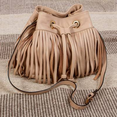 Leather shoulder bag, Bodacious in Buff