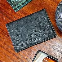 Leather passport wallet, 'Going Abroad' - Pebble-Grained Black Leather Passport Wallet