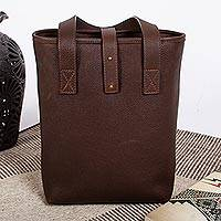 Leather wine tote, 'Favorite Vintage' - Two-Compartment Brown Leather Wine Tote
