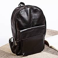 Leather backpack, 'Road to Guanajuato' - Unisex Black Leather Backpack from Mexico