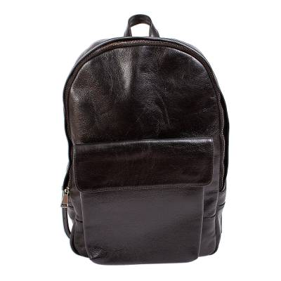 Unisex Black Leather Backpack from Mexico