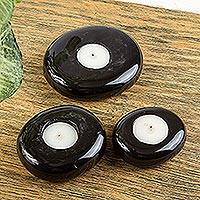 Marble tealight candleholders, 'Black Oval Balance' (set of 3) - 3 Black Marble Tealight Candleholders in Graduated Sizes