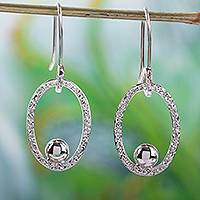 Silver dangle earrings, 'Bright Spark' - 950 Silver Taxco Mexico Dangle Earrings