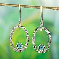 Blue topaz dangle earrings, 'Bright Spark' - Blue Topaz and 950 Silver Dangle Earrings