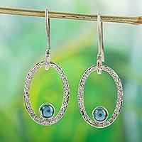 Blue topaz dangle earrings, 'Bright Spark' - Blue Topaz and 950 Silver Dangle Earrings