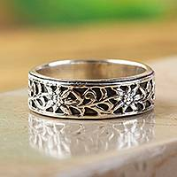 Sterling silver band ring, 'Sunflower Garland'