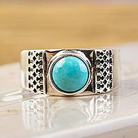 Turquoise cocktail ring, 'Elegant Fretwork' - Natural Turquoise and 950 Silver Cocktail Ring