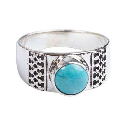 Natural Turquoise and 950 Silver Cocktail Ring