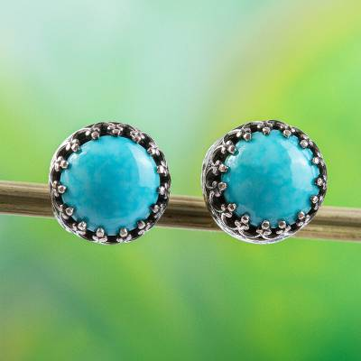 Turquoise stud earrings, 'Elegant Fretwork' - Natural Turquoise and Taxco Silver Stud Earrings