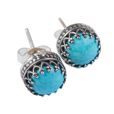 Turquoise stud earrings, 'Elegant Fretwork' - Natural Turquoise and Taxco Silver Stud Earrings