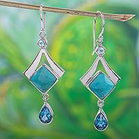 Blue topaz and turquoise dangle earrings, 'Mixed Blues' - Turquoise and Blue Topaz 950 Silver Dangle Earrings
