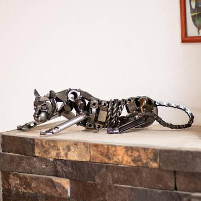 Recycled auto parts sculpture, 'Rustic Panther' - Unique Recycled Auto Parts Panther Sculpture
