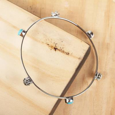 Turquoise bangle bracelet, Slender Grace