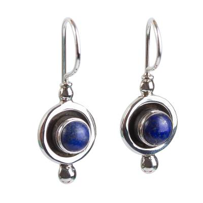 Taxco Sterling Silver and Lapis Lazuli Dangle Earrings