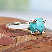 Turquoise solitaire ring, 'Sky Facets' - Taxco Sterling Silver and Natural Turquoise Solitaire Ring