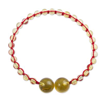 Amber unity bracelet, 'In Solidarity' - Handcrafted Natural Maya Amber Unity Bracelet