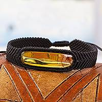 Amber pendant bracelet, 'Electrum in Black' - Black Macrame Bracelet with Amber Pendant