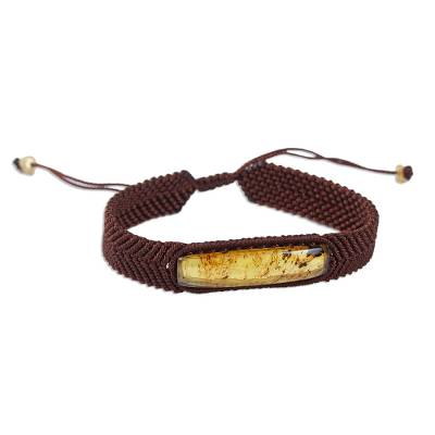 Amber Pendant Unisex Bracelet from Mexico