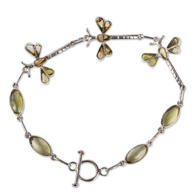 Amber link bracelet, 'Age-Old Dragonflies' - Dragonfly Amber Bracelet with Sterling Silver
