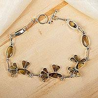 Amber link bracelet, 'Golden Wren' - Bird-Themed Bracelet in Sterling Silver and Amber