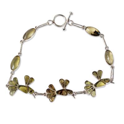 Amber link bracelet, 'Golden Wren' - Bird-Themed Bracelet in Sterling Silver and Amber