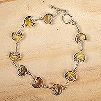 Amber link bracelet, 'Ancient Crescent Moons' - Natural Amber Crescent Moon Link Bracelet