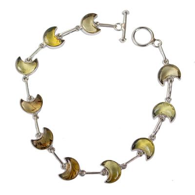 Natural Amber Crescent Moon Link Bracelet