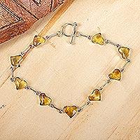 Amber link bracelet, 'Ancient Hearts' - Heart Shaped Amber Link Bracelet
