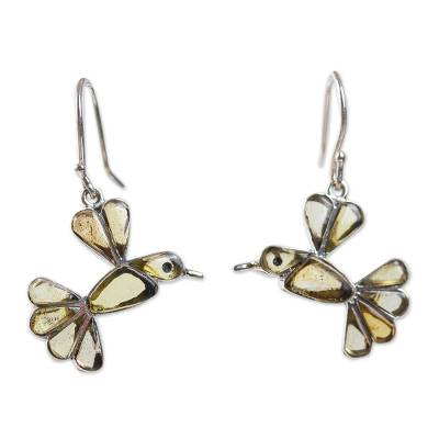 Amber dangle earrings, 'Golden Wren' - Amber Bird Dangle Earrings from Mexico