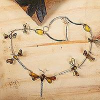 Amber pendant necklace, 'Age-Old Dragonflies'