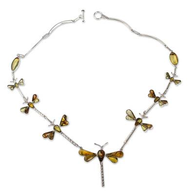 Amber pendant necklace, 'Age-Old Dragonflies' - Genuine Amber and Sterling Silver Dragonfly Necklace