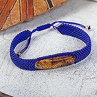 Amber pendant bracelet, 'Electrum in Blue'