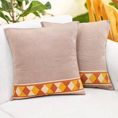 Cotton cushion covers, 'Maya Earth' - Hand Loomed Brown Cotton Cushion Covers (Pair)