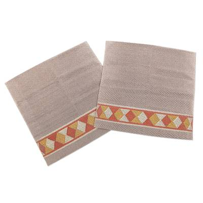 Hand Loomed Brown Cotton Cushion Covers (Pair)