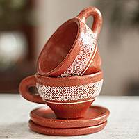 Ceramic cups and saucers, 'Chiapas Charm' - Hand Crafted Ceramic Cups and Saucers (Pair)