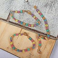 Beaded wristband bracelets, 'Candy Colors' (set of 3) - Candy-Colored Glass Beaded Wristband Bracelets (Set of 3)