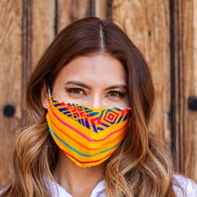 Embroidered face masks, 'Marigold Fiesta' (pair) - 2 Yellow-Orange Embroidered Cambaya Cloth Lined Face Masks