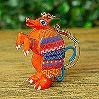 Wood alebrije key fob, 'Orange Armadillo' - Small Wood Armadillo Alebrije Key Fob