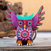 Wood alebrije key fob, 'Magenta Owl' - Hand Crafted Owl Alebrije Key Ring