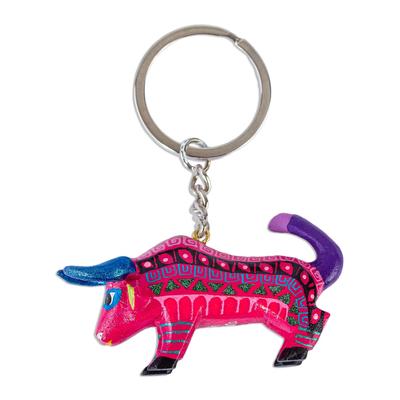 Wood alebrije key fob, 'Pink Bull' - Hot Pink Bull Alebrije Key Chain from Mexico