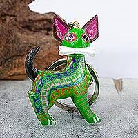 Wood alebrije key fob, 'Green Dog' - Green Dog with Bone Wood Alebrije Key Ring