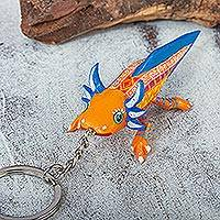 Wood alebrije key fob, 'Mango Axolotl' - Orange-Yellow Wood Axolotl Alebrije Key Fob