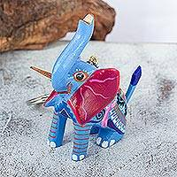 Wood alebrije key fob, 'Blue Elephant' - Hand Crafted Light Blue Elephant Alebrije Key Fob