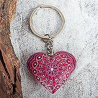 Wood key fob, 'Cherry Heart' - Alebrije-Style Wood Heart Key Fob