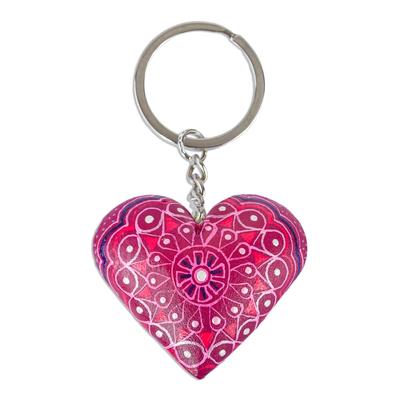 Wood key fob, 'Cherry Heart' - Alebrije-Style Wood Heart Key Fob