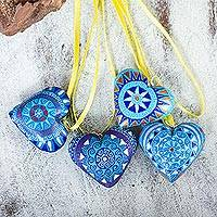 Wood ornaments, 'Blue Zapotec Heart' (set of 4)