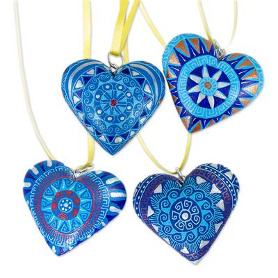 Wood ornaments, 'Blue Zapotec Heart' (set of 4) - 4 Zapotec Hand Painted Blue Wood Heart Ornaments